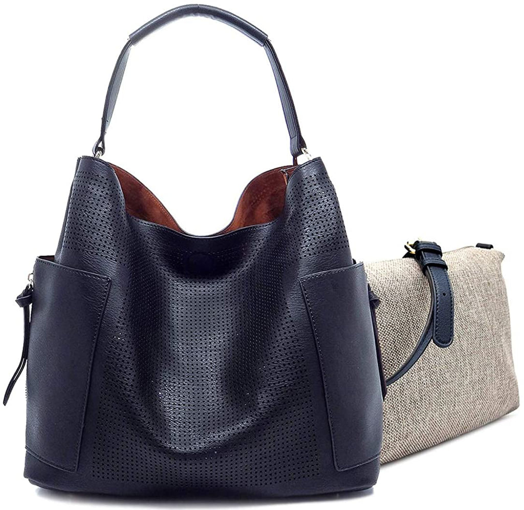 Le Miel Perforated Side Pocket Bucket Tote w/Pull-out Crossbody- Blues