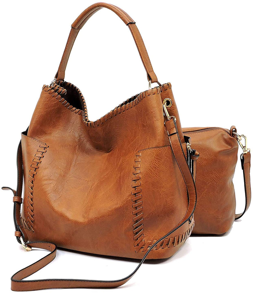 Le Miel Large Side Pocket Classic Tote w/Pullout Crossbody