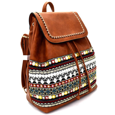 "Le Miel Boho Embroidered Medium (11""L x 6""W x 14""H) Backpack- 6 Colors"