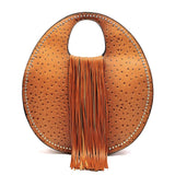 Handbag Republic Ostrich Embossed w/Fringe, Round Tote w/Strap + Wallet (Brown)