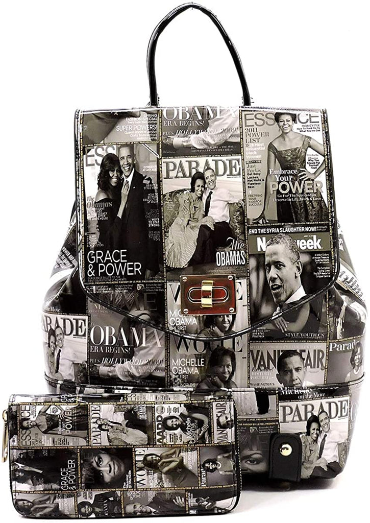Obama Magazine Print Collection Flap Backpack + Wallet- Multi (Black/White/Gray)