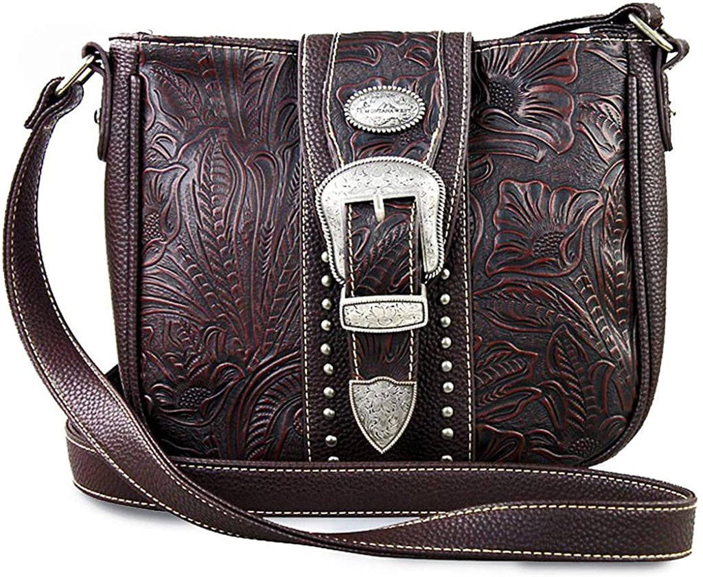 Montana West Western Buckle Messenger w/Tooled Leather Accents (Coffee)