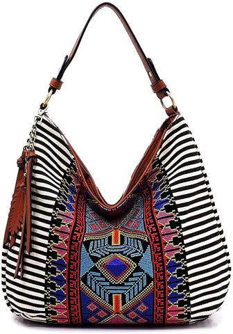 MMS Design Studio Boho Large Hobo w/Fringe Charm (Black)