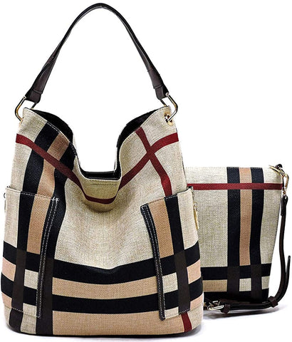 Handbag Republic Side Pockets Tote w/Inner Bag Crossbody- Plaids (Coffee Straps)