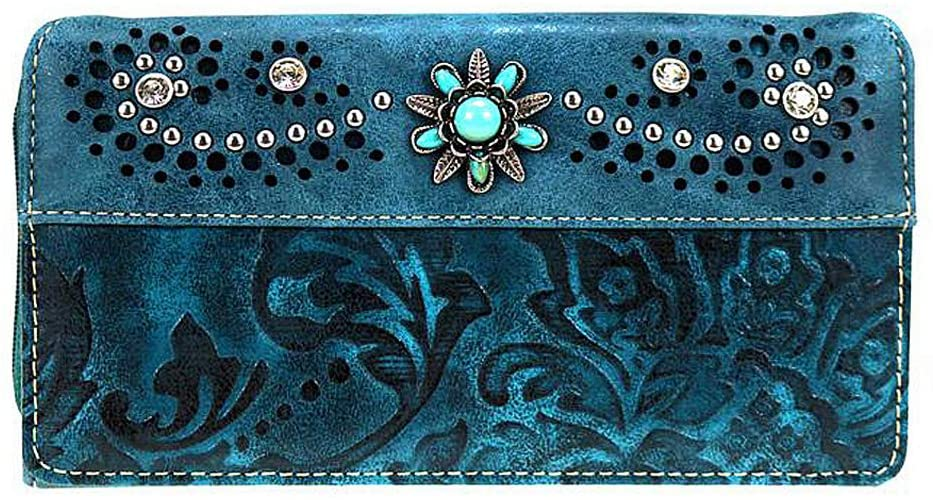 Montana West Secretary Style Embossed Floral Wallet (Turquosie)