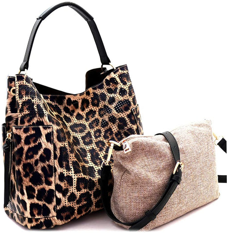 Le Miel Perforated Accent Side Pocket Hobo + Pull-out Crossbody- Leopard