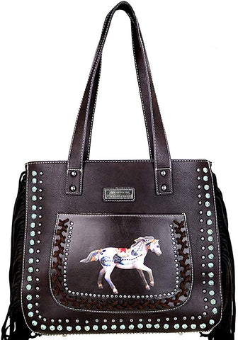 Montana West Concealed Carry. Painted Pony Front Pocket Tote w/Fringe (Coffee)