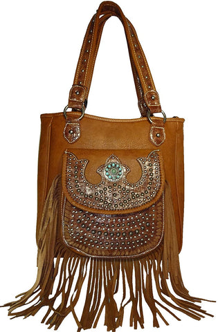 Montana West Concealed Carry Croc & Fringe Accent Tote (Brown)