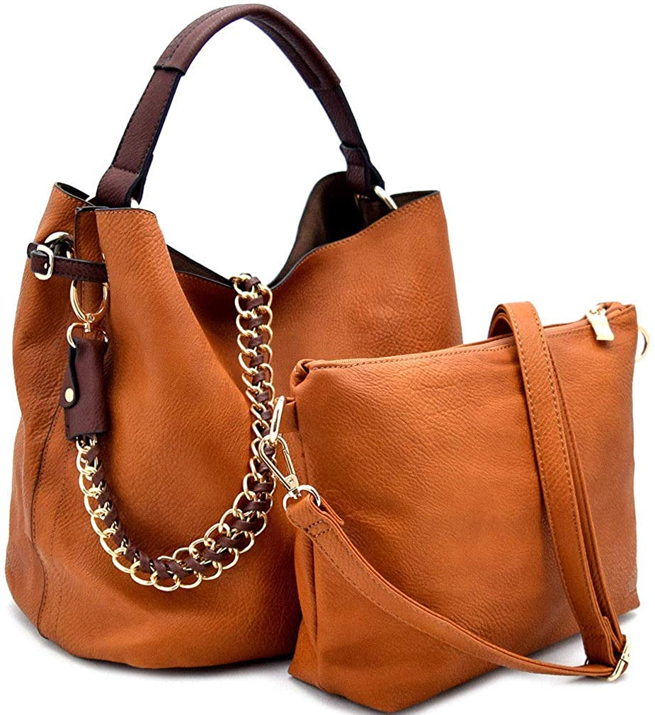 Handbag Republic Top Handle Tote w/ 2 Straps + Crossbody Pouch- 12+ Colors (Brown)