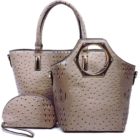 New! Le Miel 3pc Ostrich Embossed Set: Zip-top Shopper, Tote + Cosmetic Wristlet (Stone)