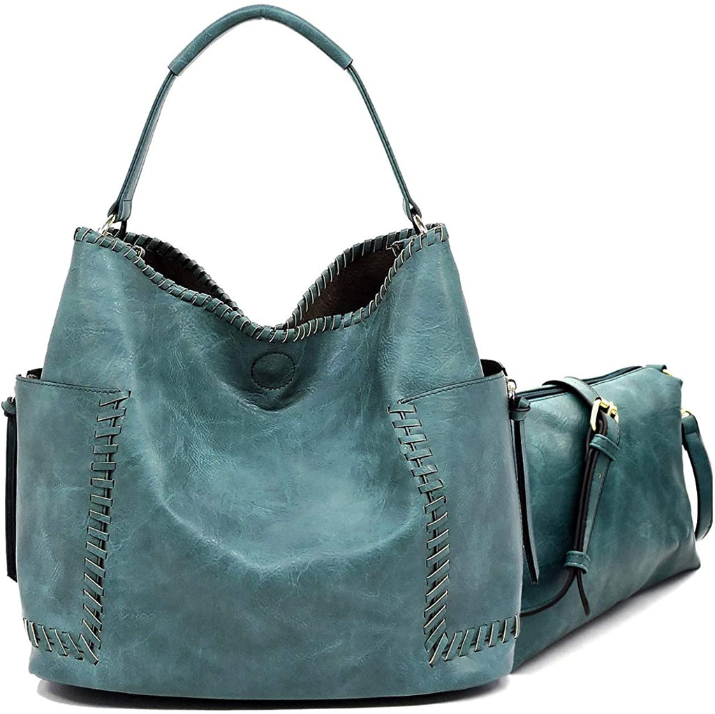 Le Miel Whipstitch Accent Side Pocket Tote w/Inner Bag Crossbody- 6 Colors
