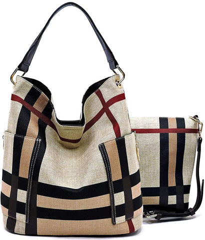 Handbag Republic Side Pockets Tote w/Inner Bag Crossbody- Plaids (Black Straps)