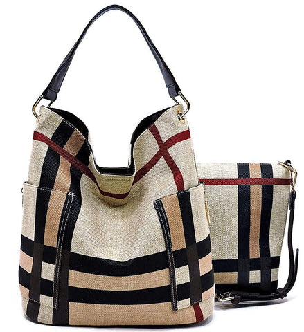 Handbag Republic Side Pockets Tote w/Inner Bag Crossbody- Plaids