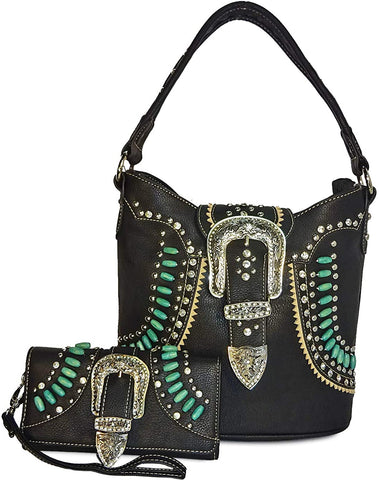 Montana West Concealed Carry Native Rhinestone Western Hobo + Wallet