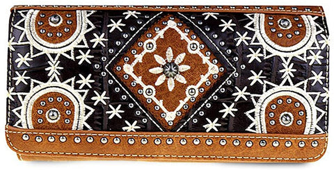 Montana West Embroidered Tri-Fold Wristlet Wallet