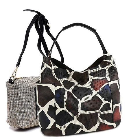 Le Miel Perforated Side Pocket Tote w/Inner Bag Crossbody- Animal Print (Giraffe)