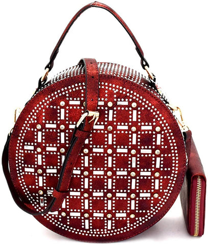 Handbag Republic Rhinestone Accent Round Satchel/Crossbody + Wallet- Red