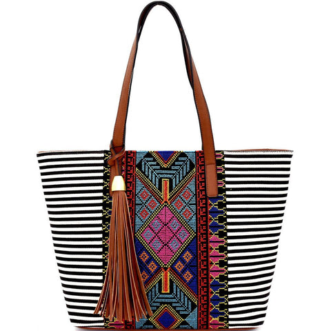 MMS Design Studio Embroidered Boho, Zip Top Tote w/Charm (Black)