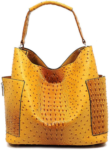 Le Miel Ostrich Embossed Tote w/Side Pockets + Inner Bag Crossbody (Mustard)