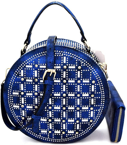 Handbag Republic Rhinestone Accent Round Satchel/Crossbody + Wallet