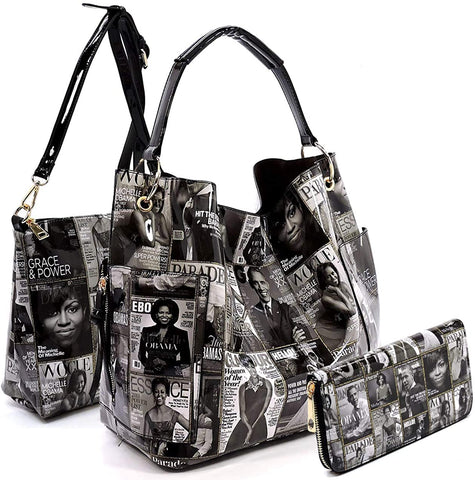 3pc Michelle Obama Print Set: Bucket Hobo, Pull-out Crossbody + Wallet