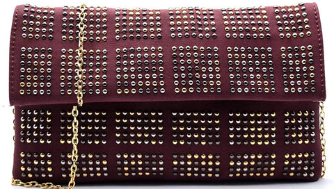 3am Forever Multi Studded Flap Clutch w/Strap (Burgundy)