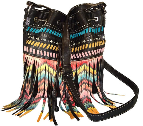 Montana West Concealed Carry Aztec Fringe Drawstring Crossbody