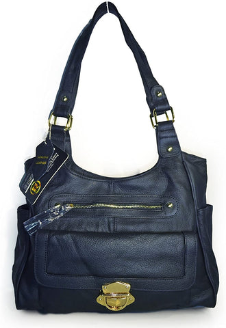 Roma Leathers Dual Entry Concealed Carry, Multi Pocket Tote (Blue)