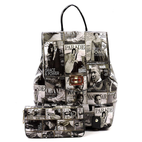 Obama Magazine Print Collection Flap Backpack + Wallet