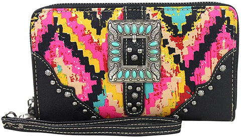 Montana West Colorful Aztec Pattern Wristlet Wallet w/TQ Beaded Buckle (Pink)