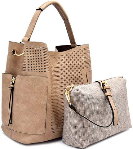 Le Miel Perforated Side Pocket Tote w/Inner Bag Crossbody- Stone