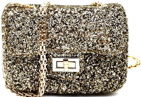 3am Forever Sparkling, Dressy Cross Body Mini Clutch (Gold)