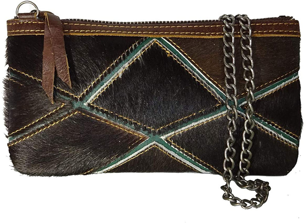 American Bling All Leather Hair-on-Hide Small Clutch w/Strap (Coffee Multi)