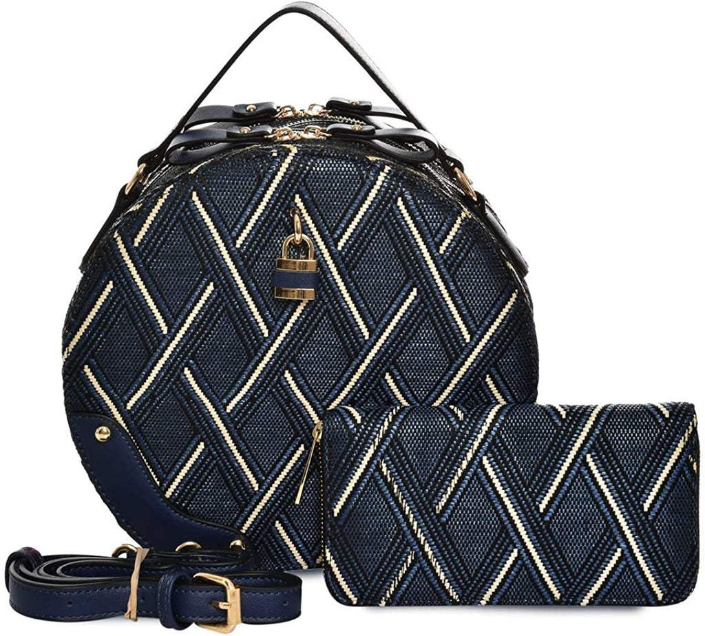 Le Miel Padlock Accent, 2-Compartment Patterned Round Satchel w/Strap + Wallet(Navy)