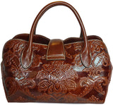 Austin Leather Classics Zinnia Floral Satchel w/Strap- Chocolate