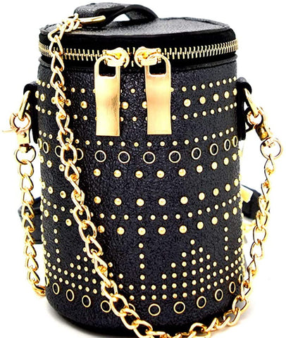 Handbag Republic Studded Metallic Mini Barrel Crossbody (Black)