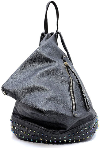 Backpack- Handbag Republic Holographic Cone Studded Metallic- (Black)