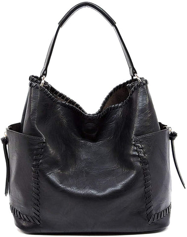 Le Miel Distressed Effect Vegan Side Pocket Tote w/Inner Bag Crossbody
