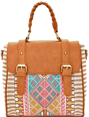 MMS Design Studio Boho Convertible Backpack/Crossbody Satchel -Navy (Beige)