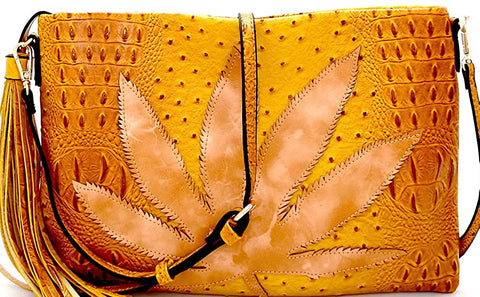 Le Miel Large Leaf Accent Ostrich Embossed Tassel Crossbody Clutch (Mustard)