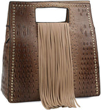 Handbag Republic Ostrich Embossed Fringed Box Satchel w/Strap- 6 Colors! (Tan)