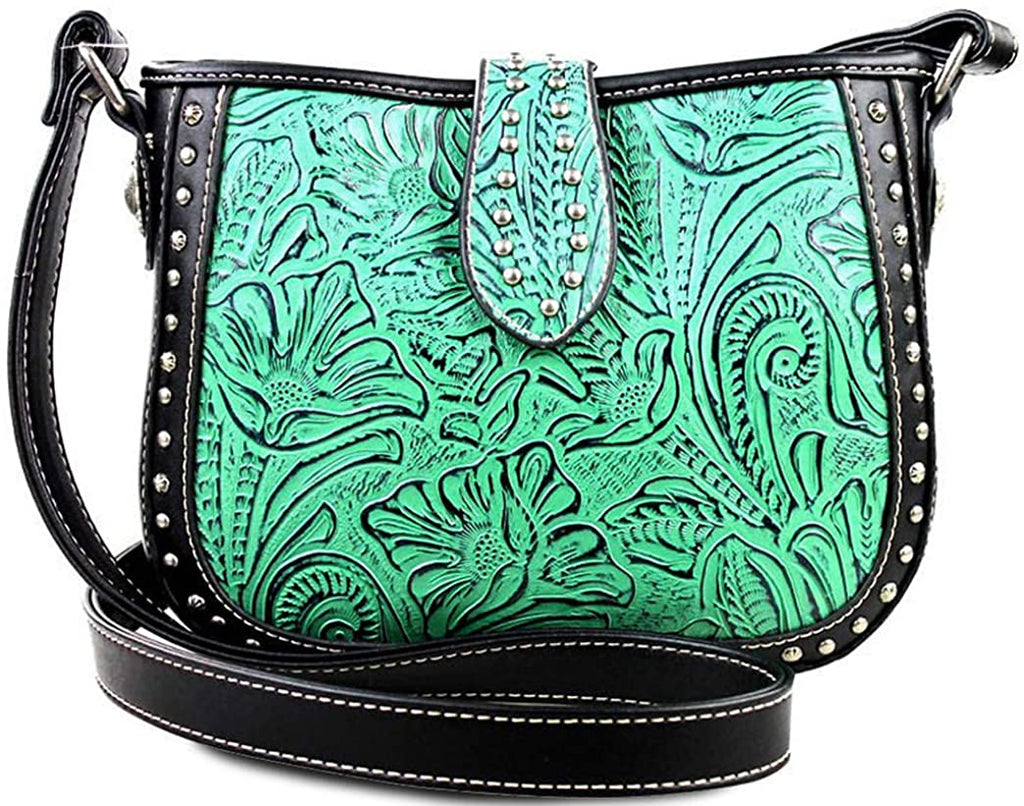 Montana West Small Crossbody w/Leather Tooled Front (TQ/Black)