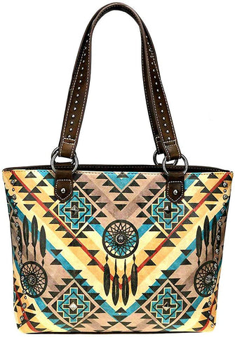 Montana West USA Concealed Carry Dream Catcher Tote- Coffee