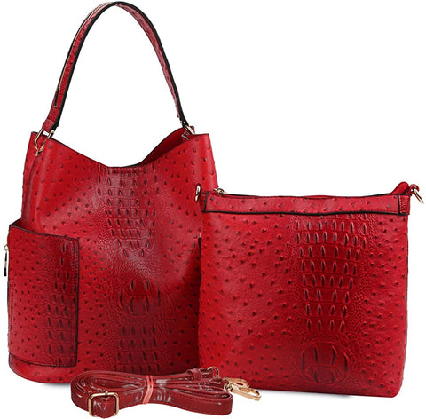 Handbag Republic Vegan Ostrich Hobo w/Pull-out Crossbody- RED