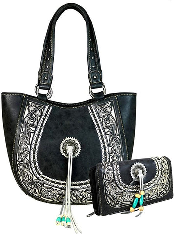 Montana West Concealed Carry, Floral Scroll Embroidered Tote- + Wallet -Black