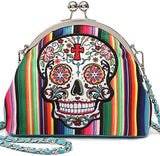 New! Cowgirl Trendy Serape Skull Kiss-lock Crossbody- Teal