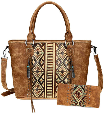 Montana West Concealed Carry Top-handle Crossbody w/Leather Aztec Front + Wallet