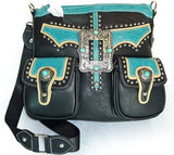 Montana West Concealed Carry Multi Pocket Buckle Crossbody- Black