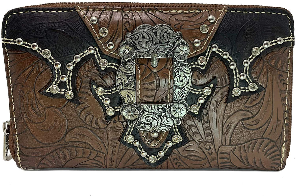 Montana West Floral Embossed Western Wristlet Wallet (Brown)