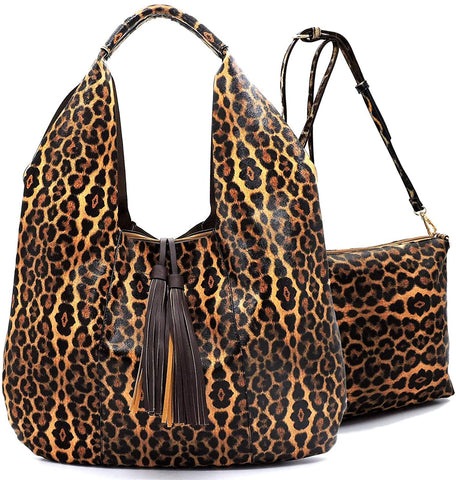 Handbag Republic Leopard Embossed X-Large Hobo Tote w/Pull-out Crossbody/Pouch